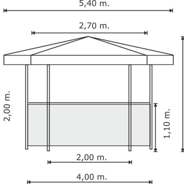 Schema-misure-chiosco-esagonale-768x661